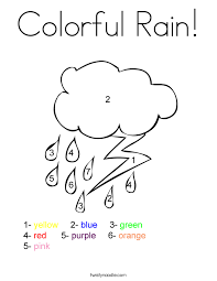 Colorful Rain Coloring Page Twisty Noodle Rainy Day Coloring Pages