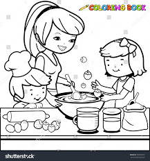 mother children cooking kitchen coloring book stock vector