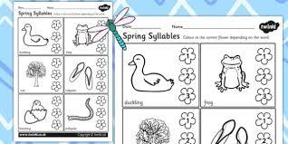 spring syllables worksheets 3 spring syllable season