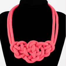 braided rope necklace images Fashion hot pink braided rope handmade statement bib necklace jpg