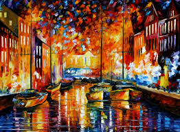 copenhagen u0027s harbor u2014 palette knife oil interior painting on