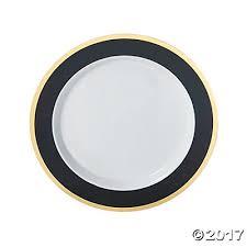 gold border premium plastic dinner plates