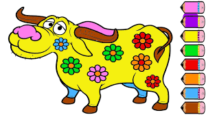 cow coloring page how to draw cow coloring book youtube