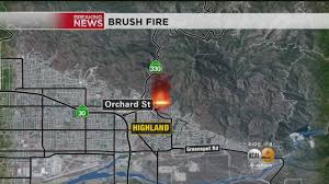 Wildfire Map Los Angeles by Brush Fire Threatens Homes In Highland Cbs Los Angeles