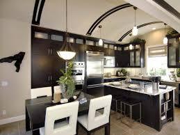 eat in kitchen island black marble countertop feats glass door