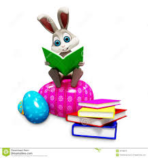 bunny sitting on egg u0026 reading a book royalty free stock images