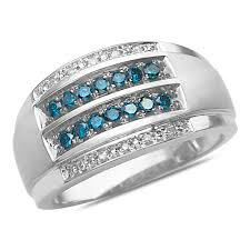 the numbers wedding band details about men s 1 2ct blue and white diamond wedding band 10k