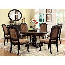 Amazoncom Bellagio English Style Brown Cherry Finish Piece - Round dining room table and chairs