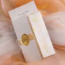 tri fold wedding invitations gold embossed floral deco tri fold wedding invitation