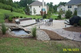 Flagstone Pavers Patio Stacked Sitting Wall With Paver Patio And Flagstone Walkway