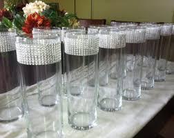 Round Cylinder Vases Rhinestone Vases Etsy