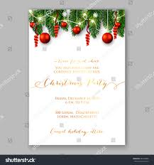 Holiday Wreath Christmas Party Invitation Holiday Wreath Needle Stock Vector
