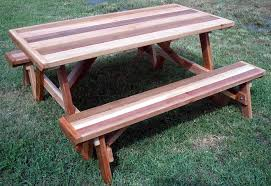 Plans For Picnic Table With Attached Benches by Cedar Creek Woodshop Bird House Porch Swing Patio Swing