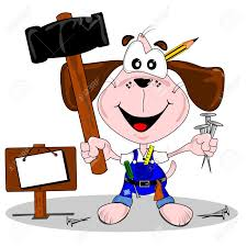 a do it yourself diy cartoon dog with hammer and nails royalty