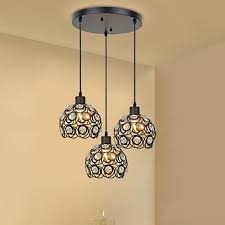 creative design modern glass crystal pendant lights 3 heads