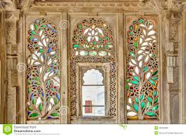 ornament wood and stained glass window stock photo image 36605088