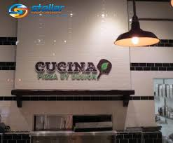 wall sign and mission statement vinyl graphics for cucina pizza by