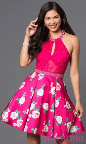 short print homecoming dress with pockets promgirl