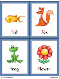 words cards letter f words and pictures printable cards fish fox frog