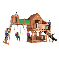 shop backyard discovery woodridge ii residential wood playset with