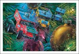 christmas cards sprint car ornaments