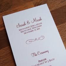 flat wedding programs flourish design tea length flat wedding programs 0 90 each
