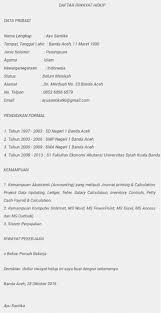 form daftar riwayat hidup pdf contoh format cara membuat daftar riwayat hidup terbaru 2018