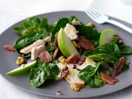 spinach salad with smoked chicken apple walnuts and bacon