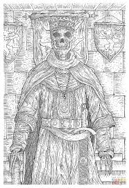 evil skull king in the middle ages coloring page free printable