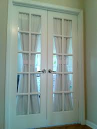 Interior White French Doors Interior White Fabric Door Curtain Connected By Glass Door With