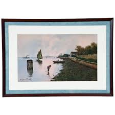 Home Interiors Celebrating Home Late 19th Century Watercolor Of Venetian Lagoon By Alberto