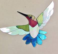 Garden Stone Craft - details about precut stained glass kit male hummingbird mosaic