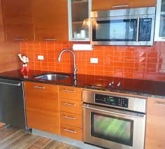 Kitchen Backsplash Installation by Bright Orange Glass Subway Tile In Poppy Modwalls Lush 3x6 Tile
