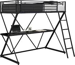 bedding powell teen trends full size metal loft bed with study