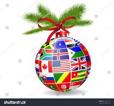 christmas ball international flags globevector stock vector