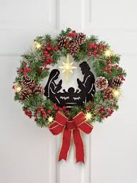 lighted christmas wreath lighted nativity christmas wreath from collections etc