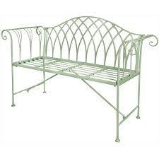 Steel Garden Bench Scrolled Metal Garden Bench Green The Garden Factory