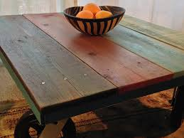 Wooden Coffee Table With Wheels by Rehabitatzz Reclaimed Wood Coffee Table With Big Wheels