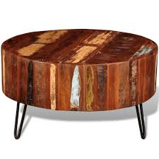 reclaimed wood round coffee table vidaxl reclaimed solid wood small round living coffee l side