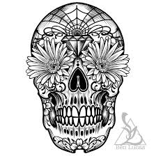 day of the dead sugar skull outline by ben lucas on deviantart
