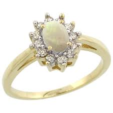 natural white opal 10k yellow gold diamond jewelry color gemstone rings white opal