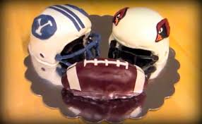 fondant football helmet cake arizona cardinals and byu cougars