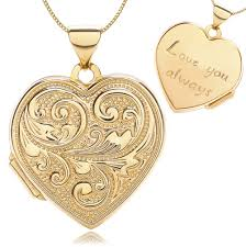 love you gold necklace images Love you always heart locket 9ct yellow gold embossed scroll design jpg