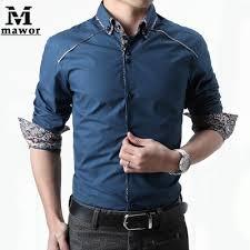 mens casual dress shirts slim cufflinks french cuff long sleeve