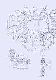 industrial blueprint of hydraulic water turbine stock photo