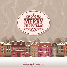 merry card with landscape vector free