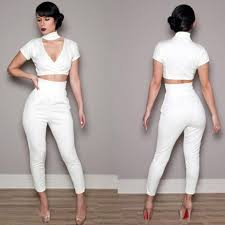 all white jumpsuits 2016 fashion bodycon jumpsuit white black lace all