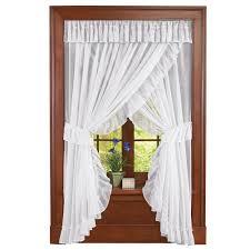 isabella ruffled sheer fabric rod pocket window curtain set by