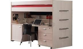lit surélevé avec bureau lit mezzanine avec bureau contemporain coloris bouleau clair melby