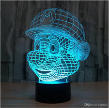 super colorful change new super mario bros shape 3d illusion night light cartoon